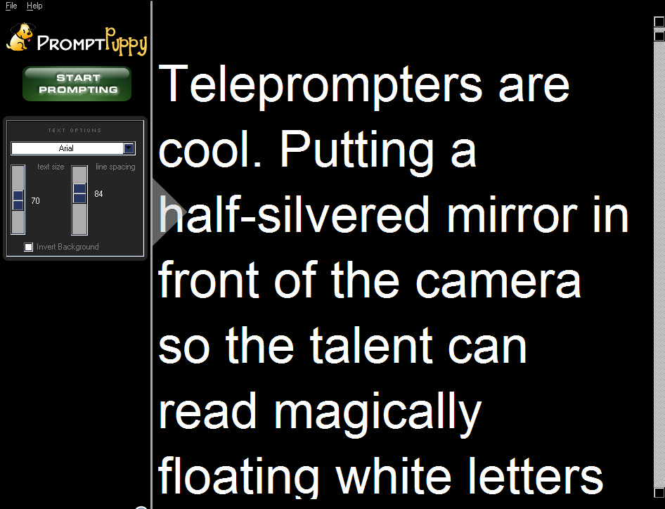 Click to view Teleprompter Software 1.1.10 screenshot