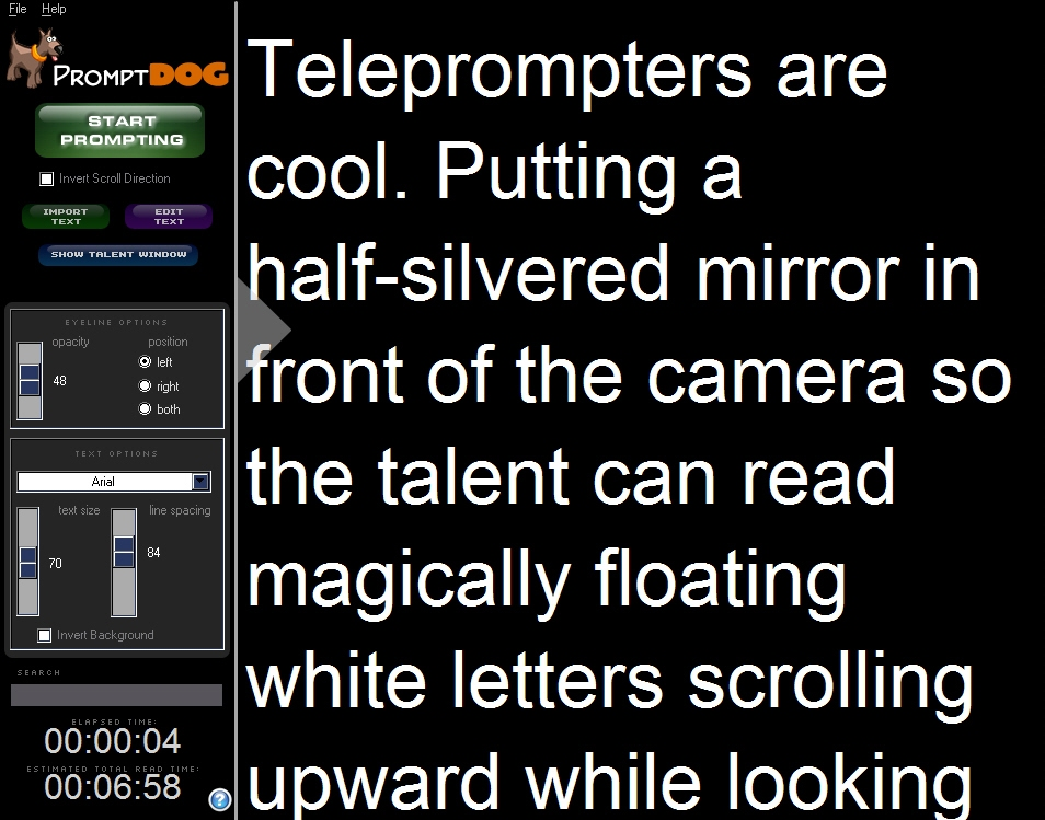 Autocue teleprompter software promptdog promptpupy not free but.